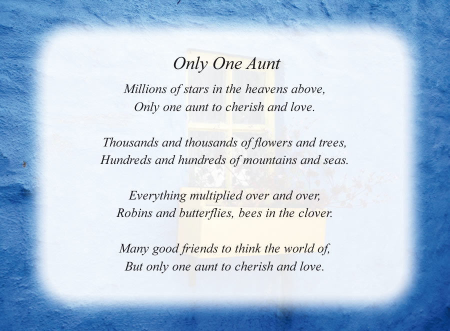 Only One Aunt - Free Aunt Poems