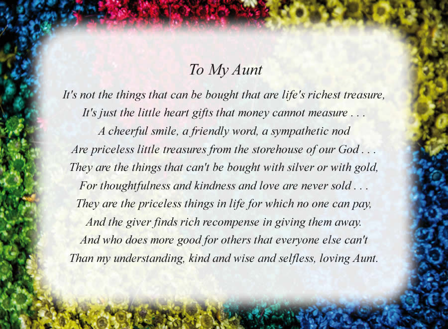 To My Aunt poem with the Colorful Flowers background