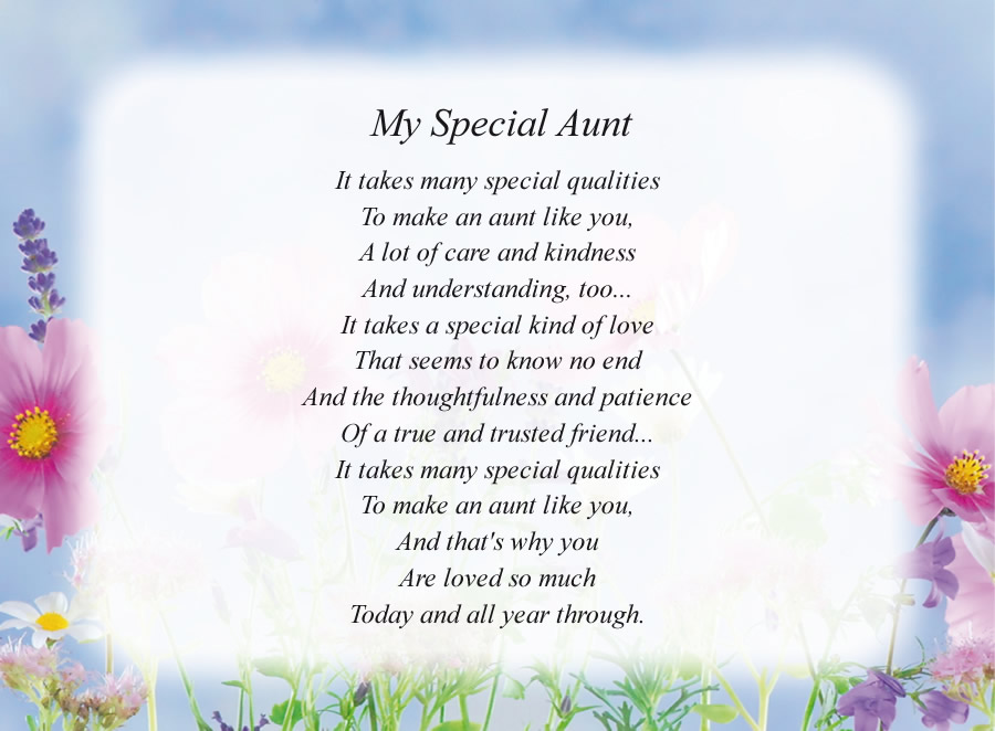My Special Aunt poem with the Flowers and Sky background