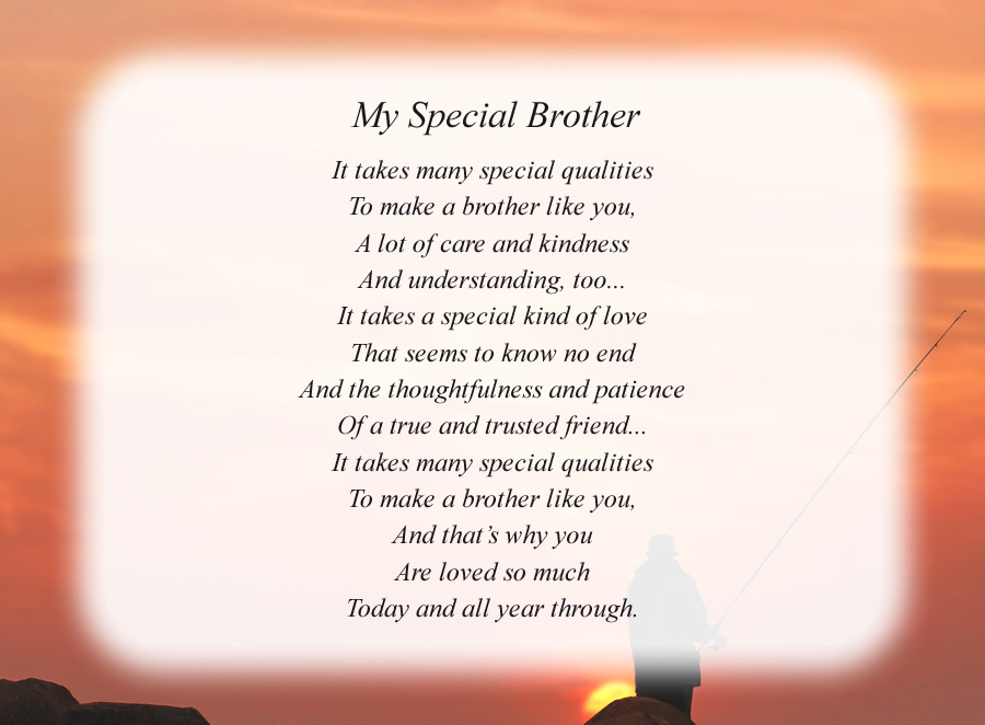 My Special Brother poem with the Fisherman background