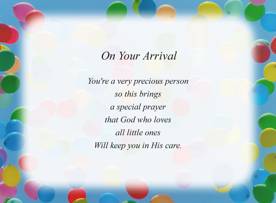 On Your Arrival poem with the Balloons background