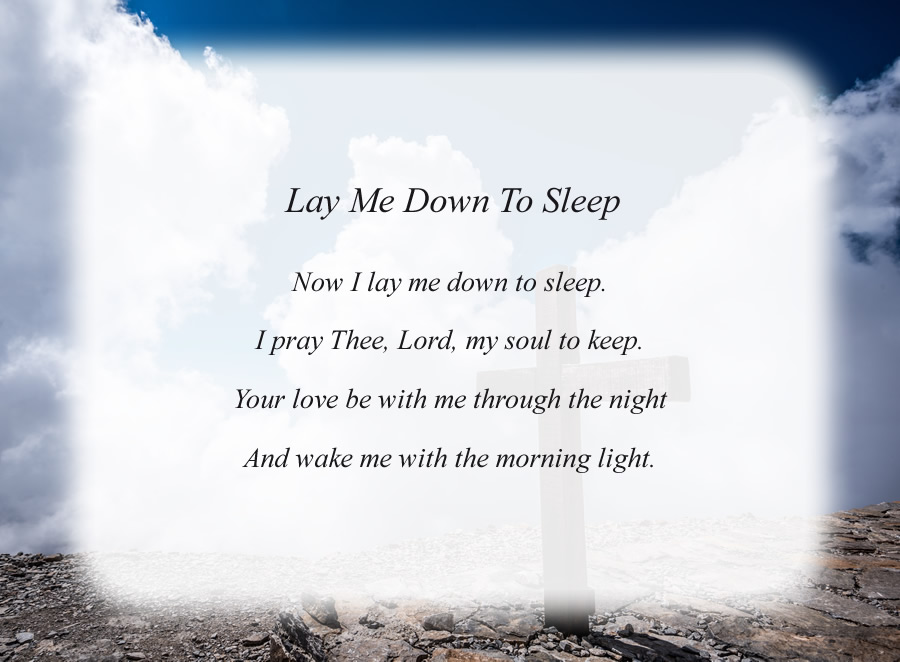 Lay Me Down To Sleep poem with the Cross and Clouds background