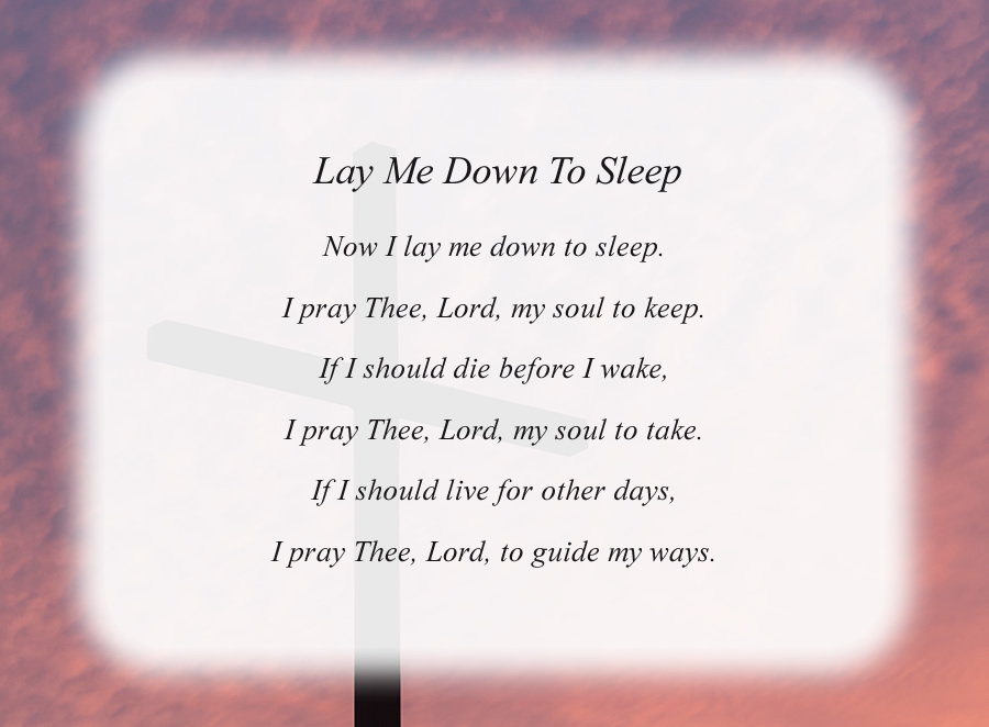 Lay Me Down To Sleep poem with the Cross and Red Sky background