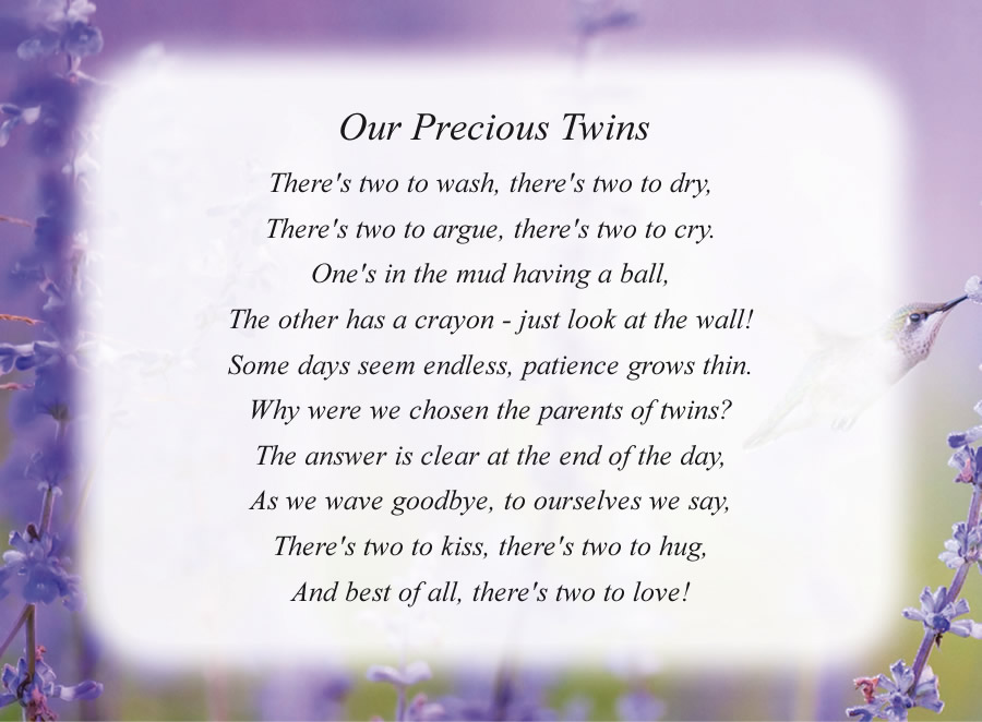Our Precious Twins poem with the Hummingbird background