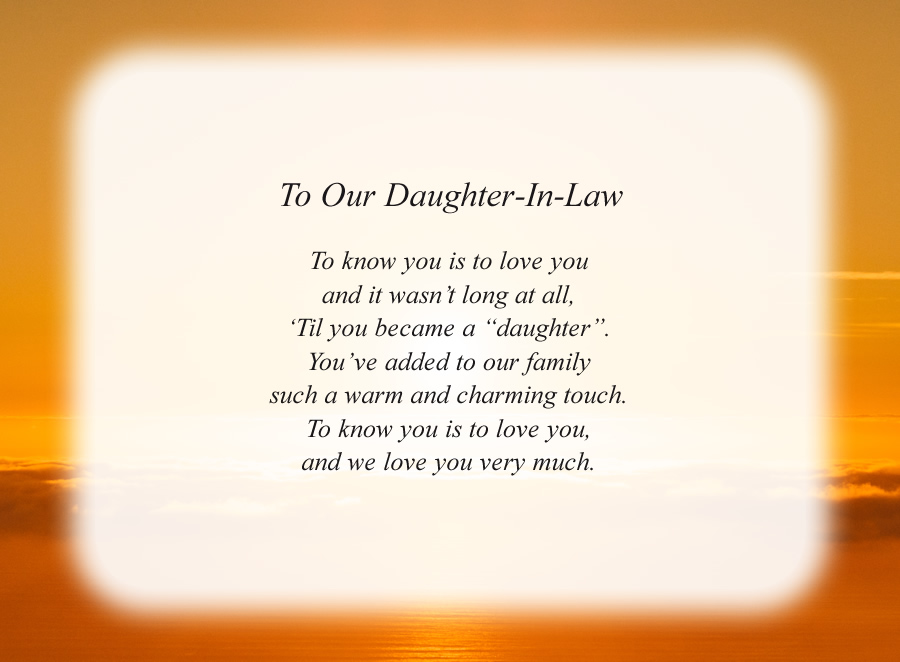 To Our Daughter-In-Law poem with the Sunrise background
