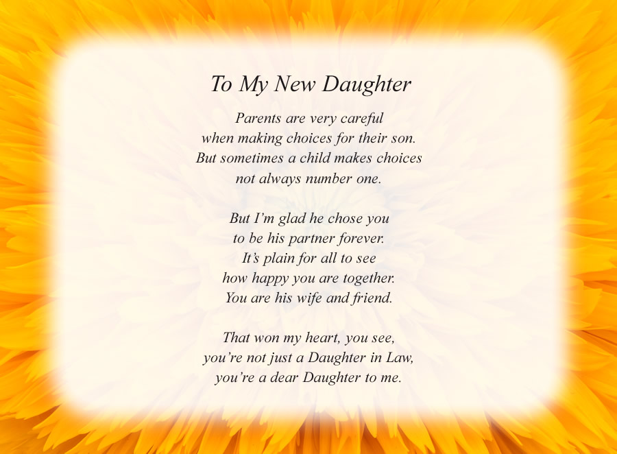 To My New Daughter poem with the Yellow Flower background