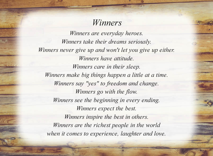 Winners poem with the Wood Wall background