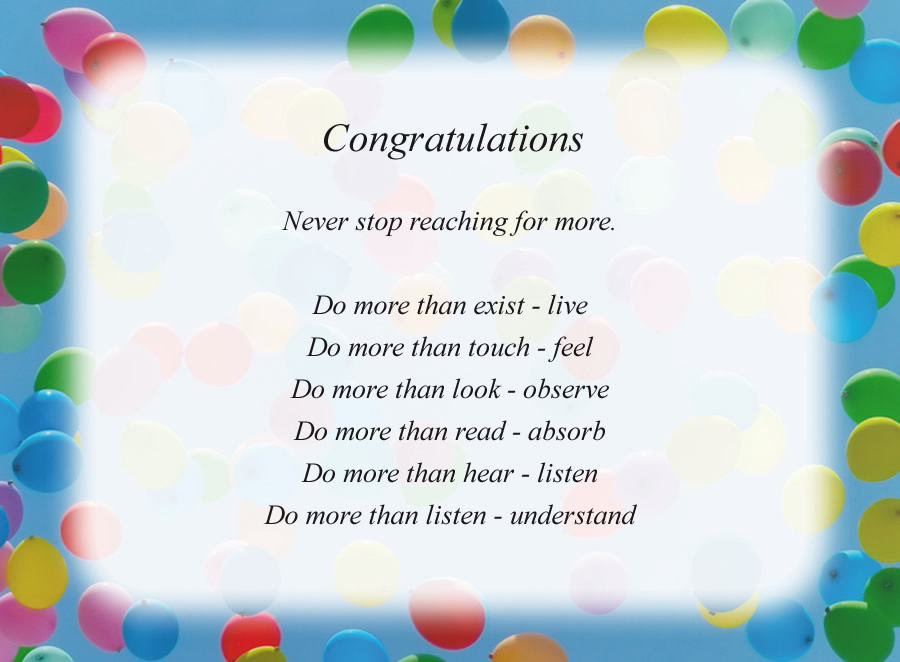 Congratulations poem with the Balloons background
