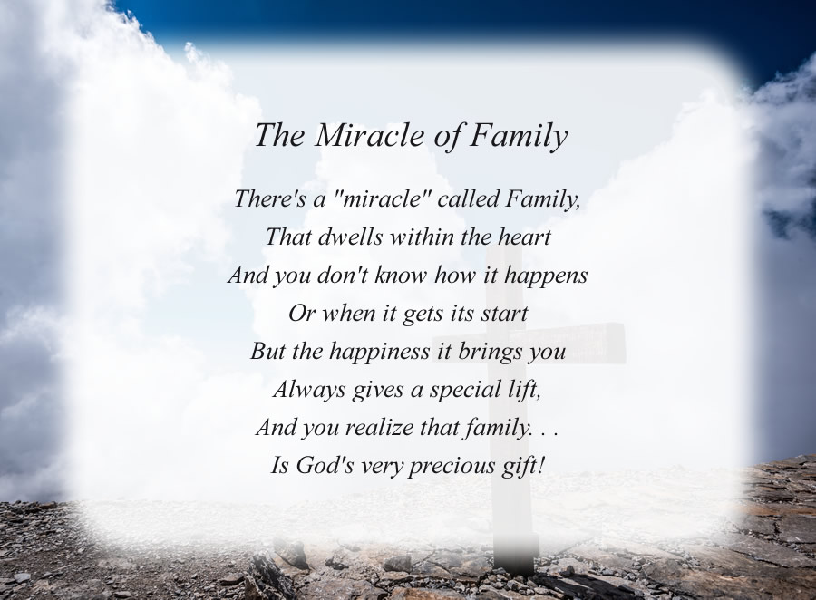 The Miracle of Family poem with the Cross and Clouds background