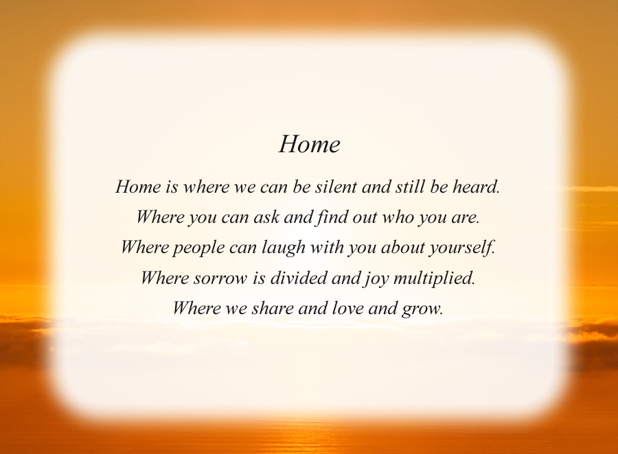 Home poem with the Sunrise background