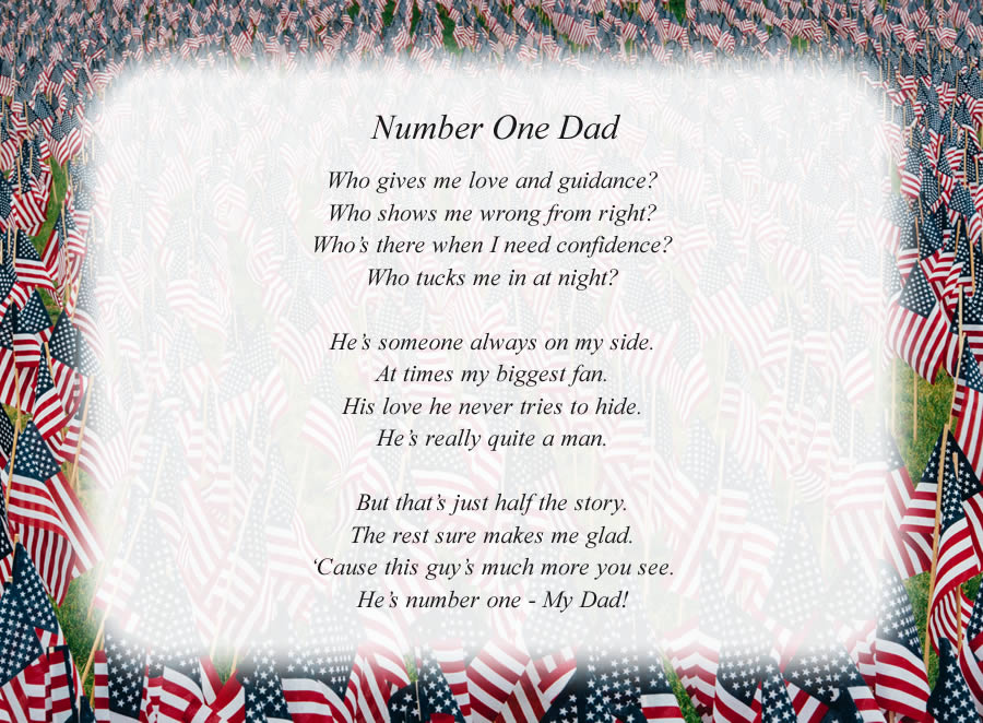 Number One Dad poem with the American Flags background
