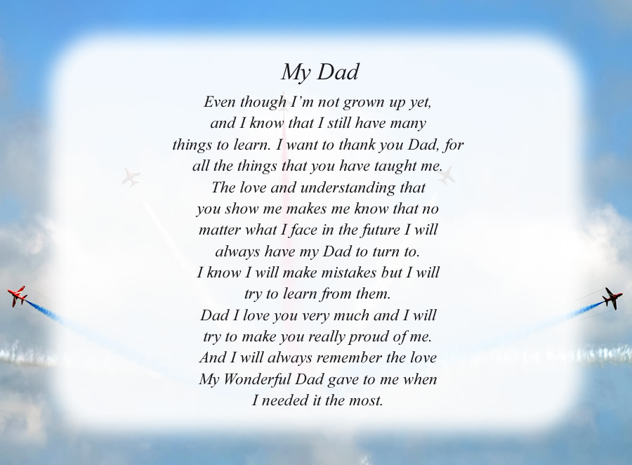 My Dad poem with the Planes background