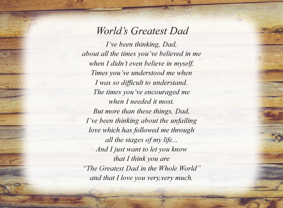 World's Greatest Dad poem with the Wood Wall background