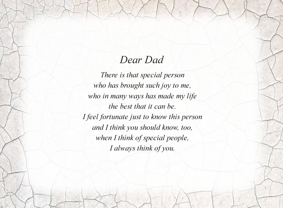 Dear Dad poem with the Crackle background