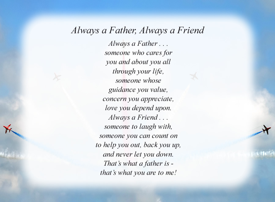 Always a Father, Always a Friend poem with the Planes background