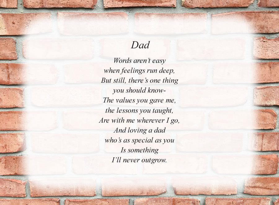 Dad(2) poem with the Brick Wall background