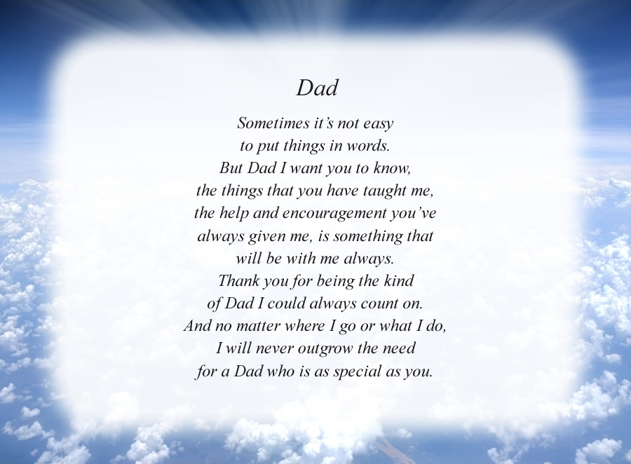 Dad(3) poem with the Clouds and Rays background