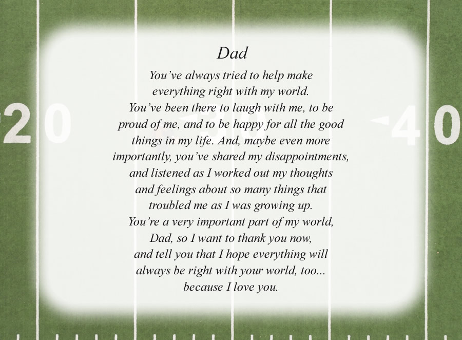 Dad(5) poem with the Football Field background