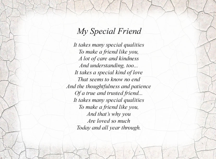 My Special Friend poem with the Crackle background
