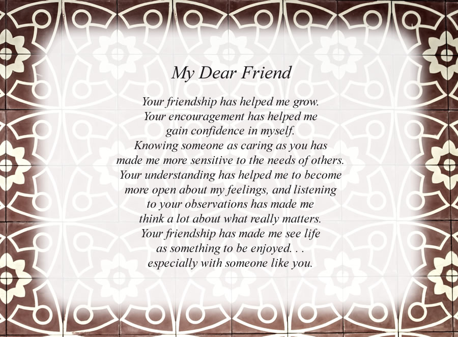 My Dear Friend(1) poem with the Designer background