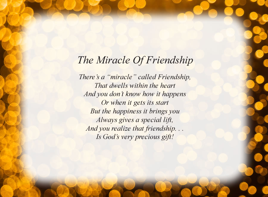 The Miracle of Friendship poem with the Lights background