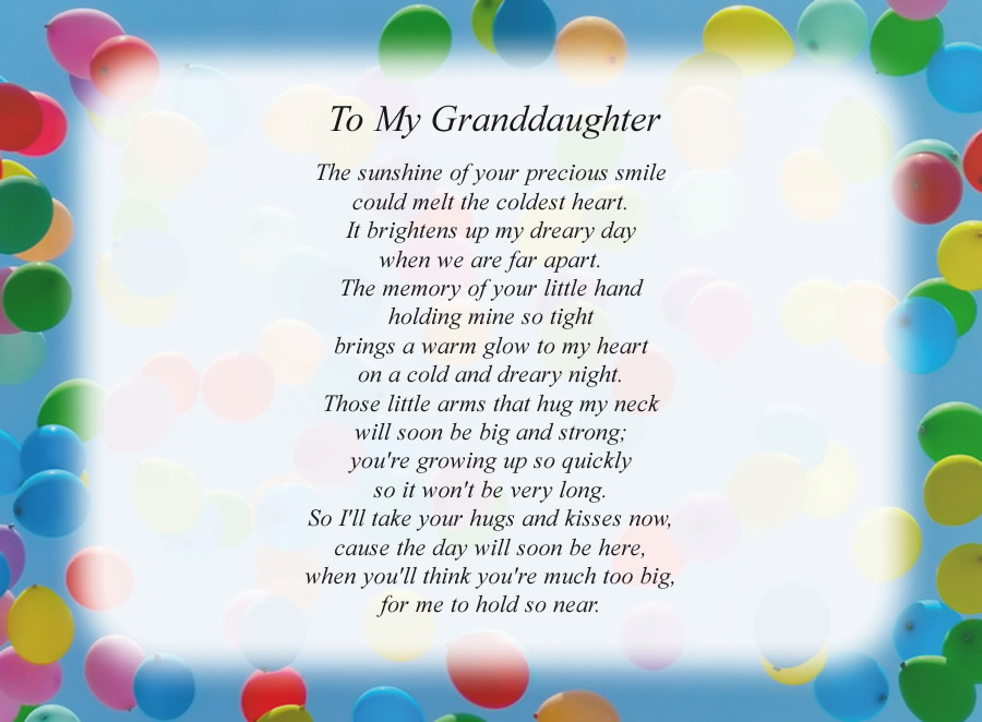 To My Granddaughter poem with the Balloons background
