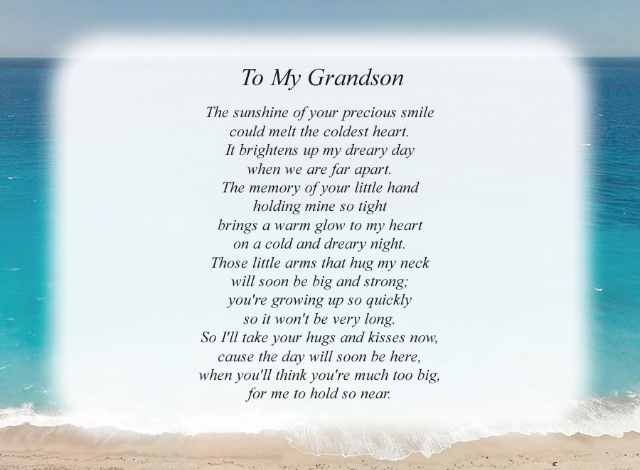 To My Grandson poem with the Beach background