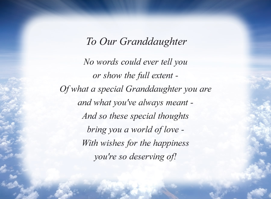 To Our Granddaughter poem with the Clouds and Rays background