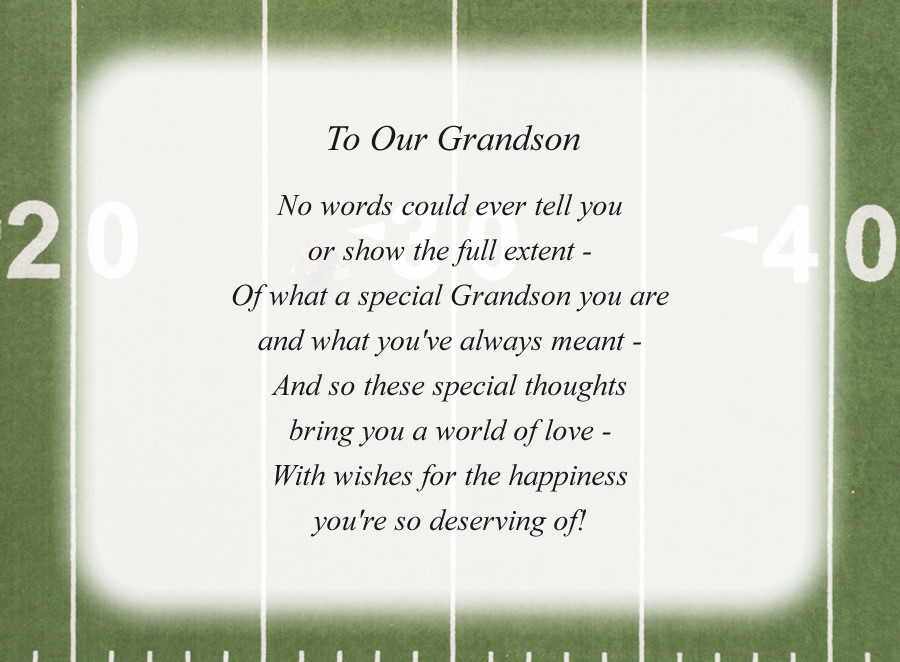 To Our Grandson poem with the Football Field background