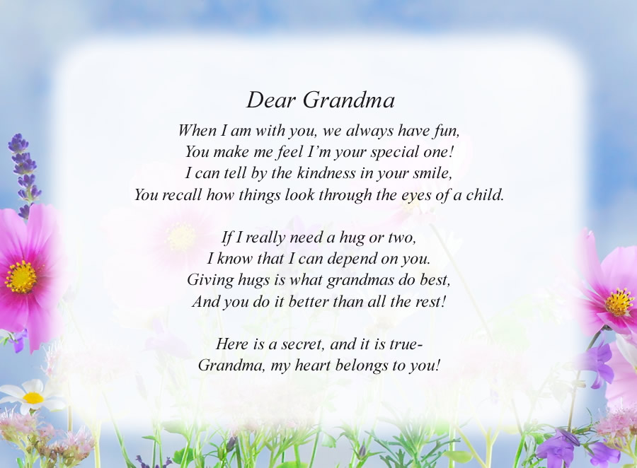 Dear Grandma poem with the Flowers and Sky background