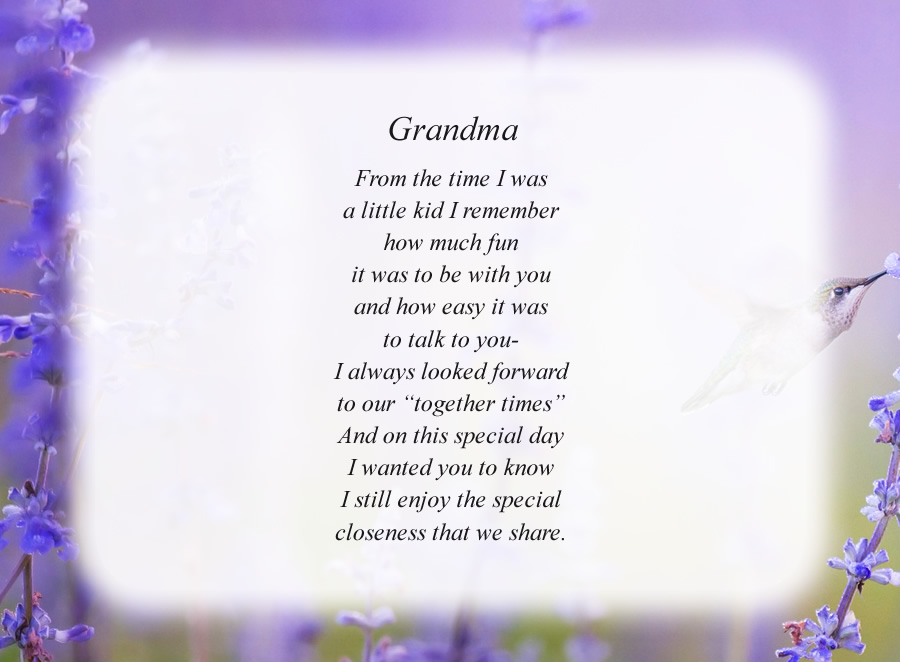 Grandma poem with the Hummingbird background