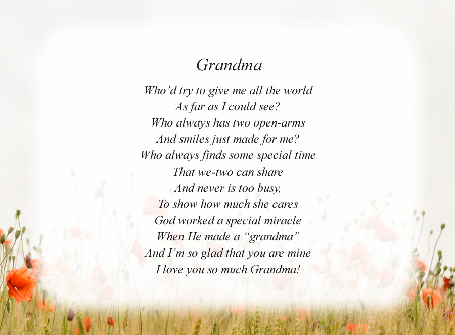 Grandma(2) poem with the Morning Flowers background