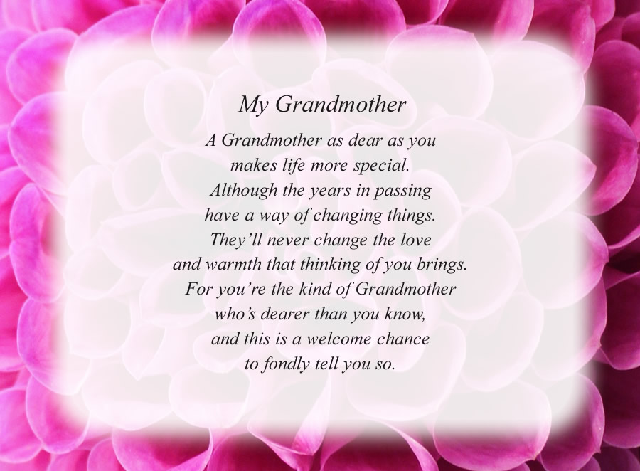 My Grandmother poem with the Pink Flower background