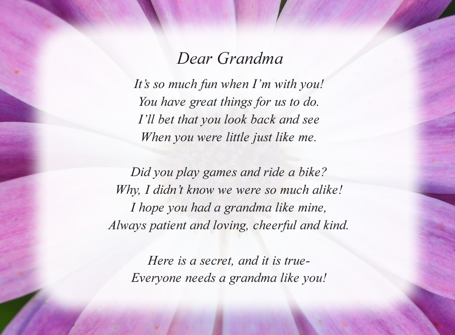 Dear Grandma(2) poem with the Purple Flower background