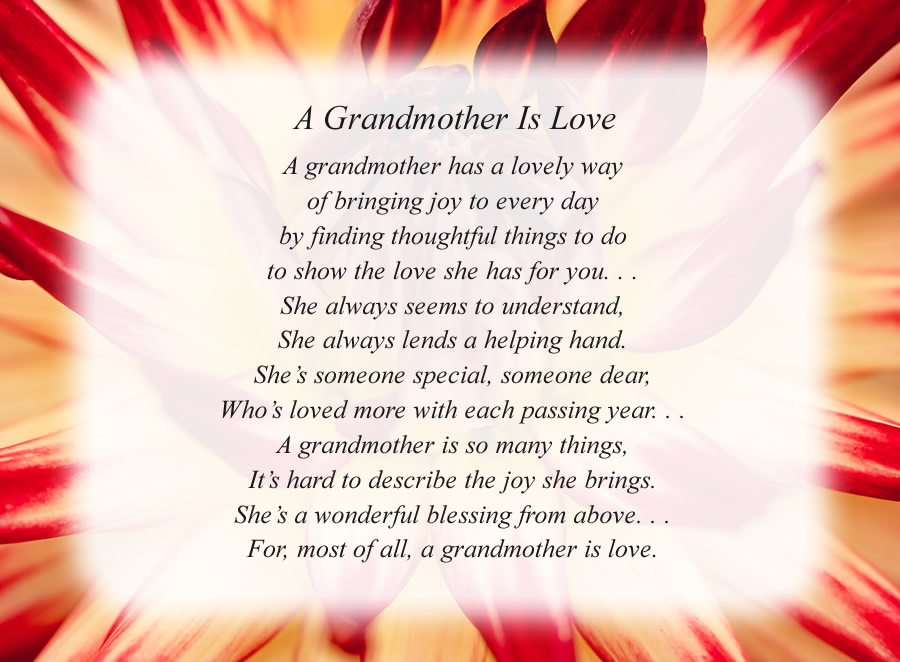 A Grandmother Is Love poem with the Red and White Flower background
