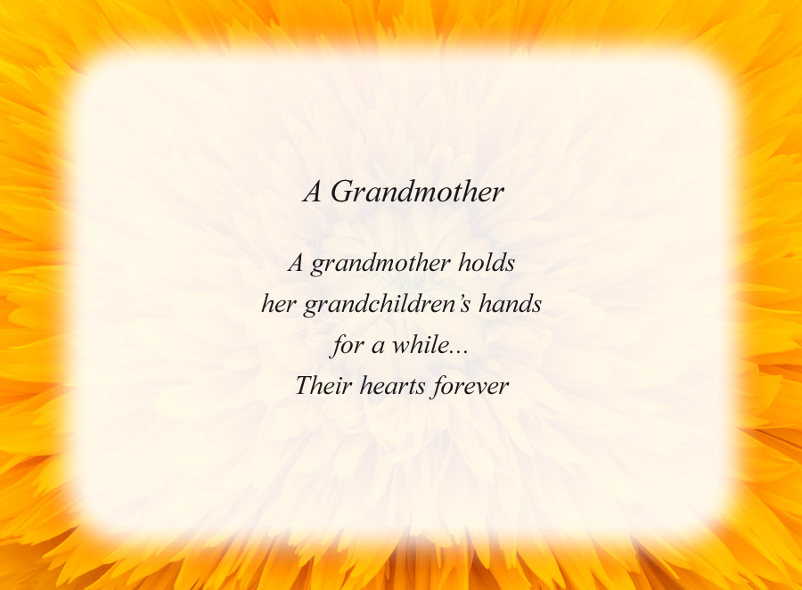 A Grandmother poem with the Yellow Flower background