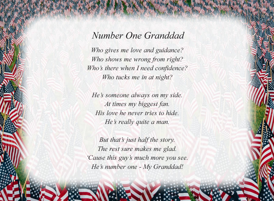 Number One Granddad poem with the American Flags background