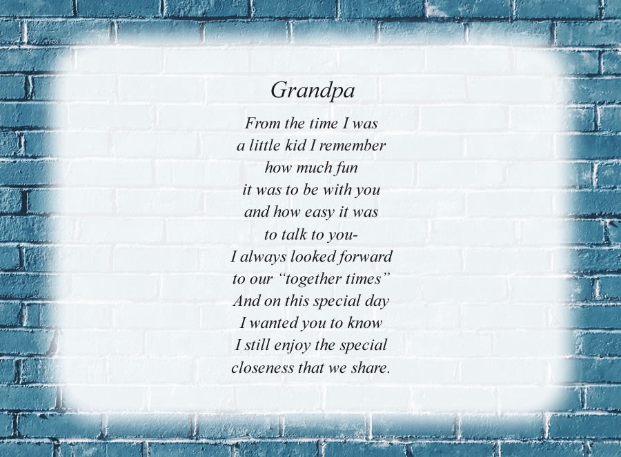 Grandpa poem with the Blue Brick Wall background