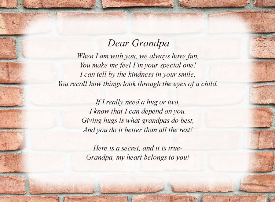 Dear Grandpa poem with the Brick Wall background