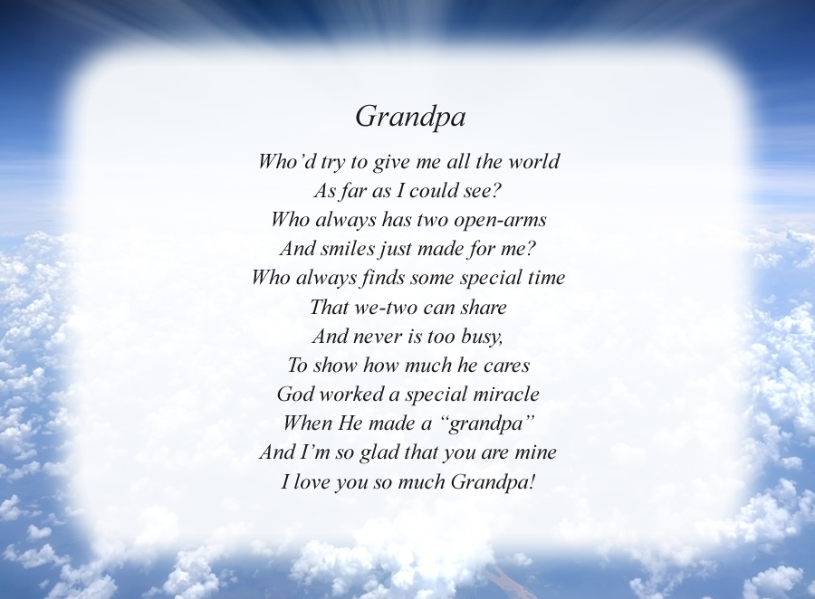 Grandpa(2) poem with the Clouds and Rays background