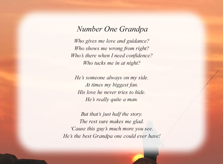 Number One Grandpa poem with the Fisherman background