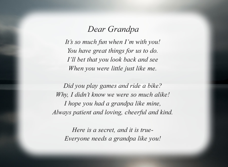 Dear Grandpa(2) poem with the Night Lake background
