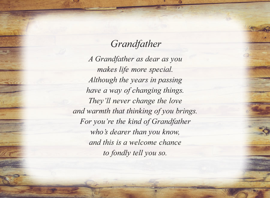 Grandfather poem with the Wood Wall background