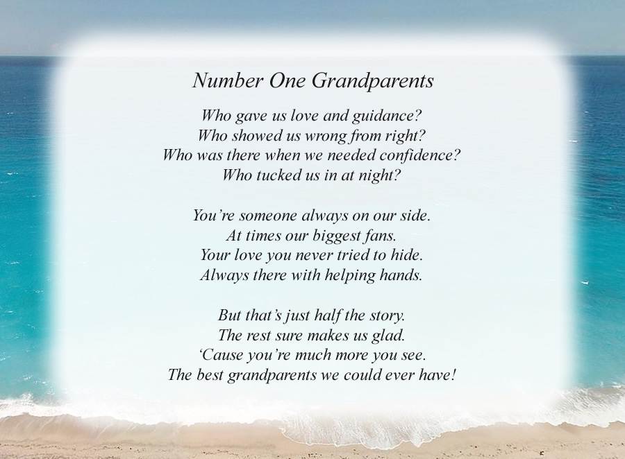 Number One Grandparents poem with the Beach background