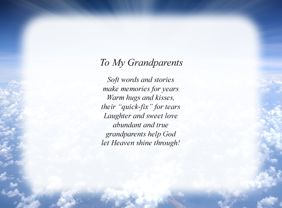 To My Grandparents poem with the Clouds and Rays background