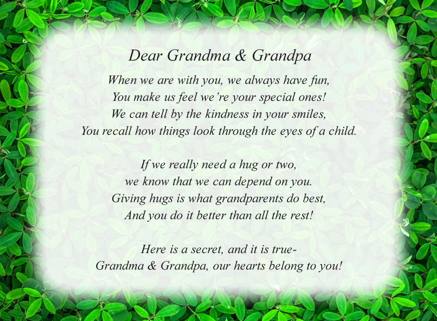 Dear Grandma & Grandpa poem with the Green Leaves background