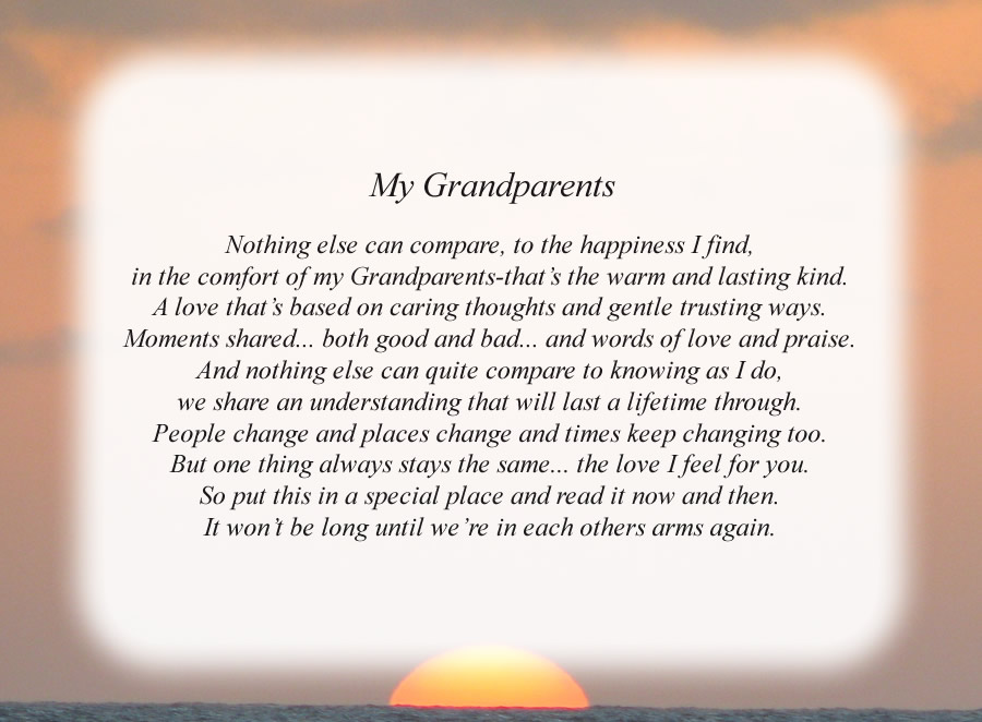My Grandparents poem with the Sunset background
