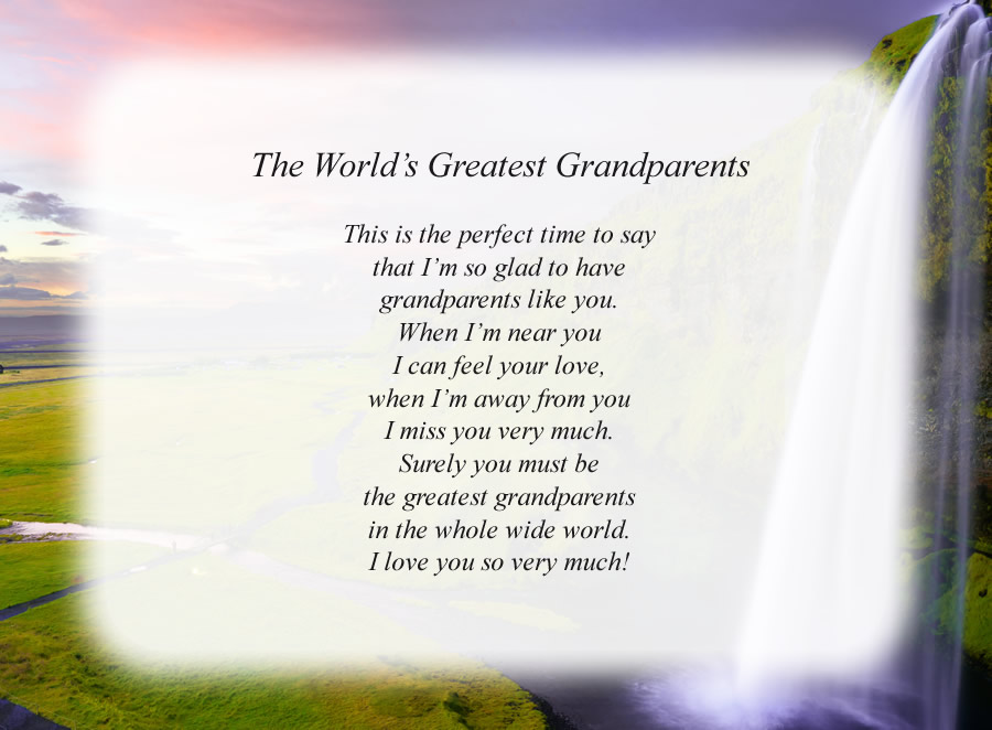 The World's Greatest Grandparents poem with the Waterfall background
