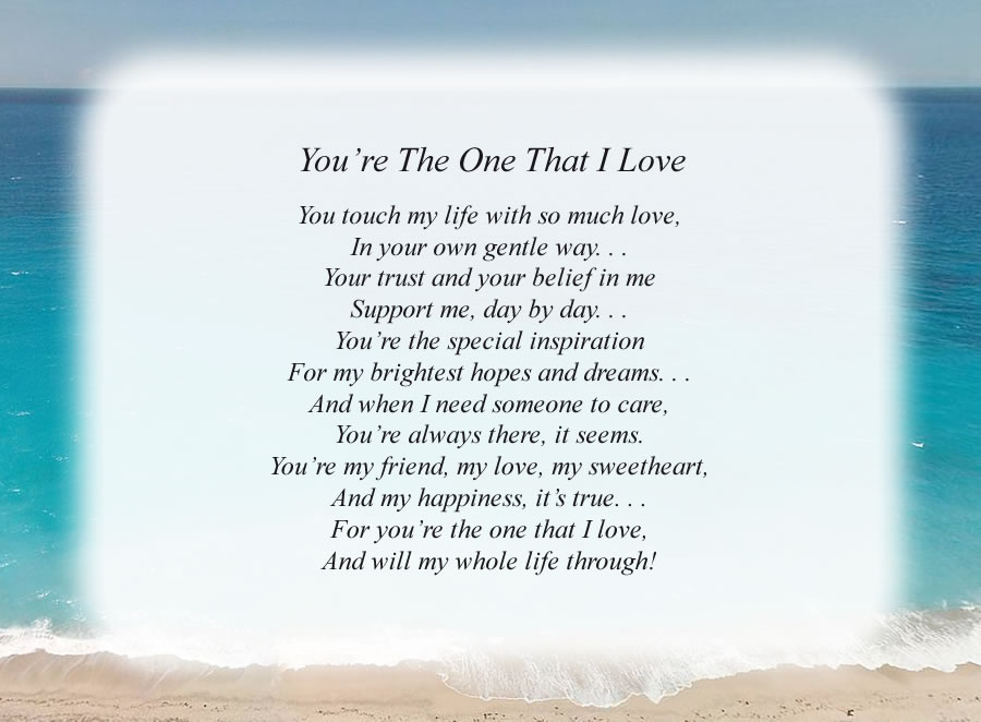You're The One That I Love poem with the Beach background