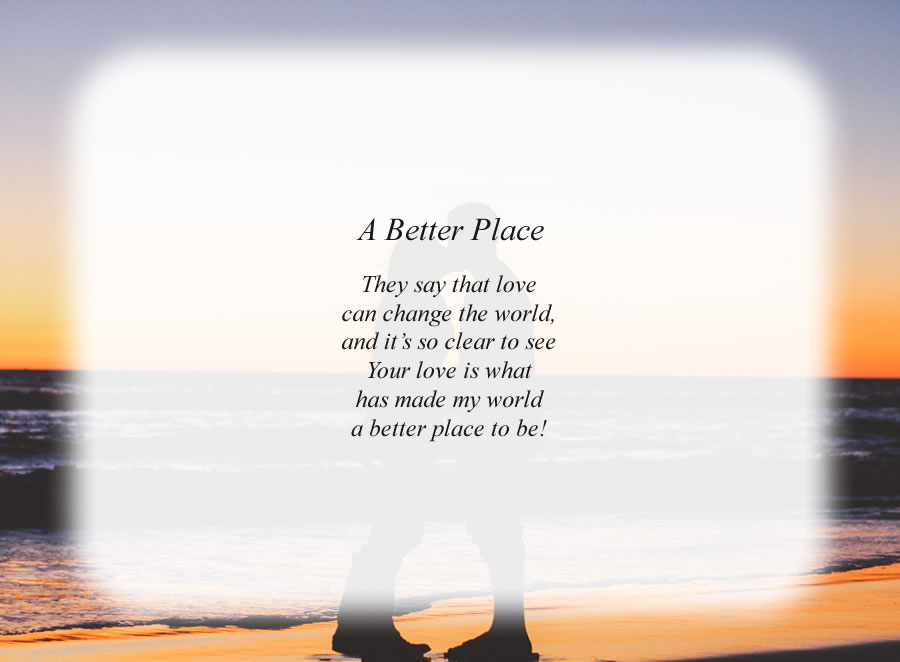 A Better Place poem with the Lovers background